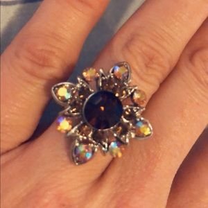 Jewelry - Multi-Color Flower Crystal Cocktail Ring